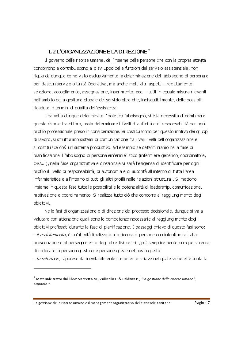 Anteprima della tesi: La gestione delle risorse umane e il management organizzativo delle aziende sanitarie, Pagina 6