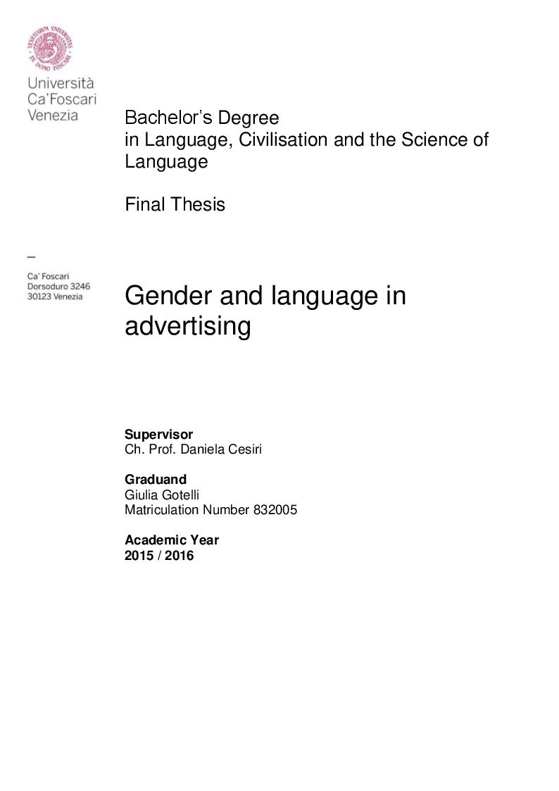 Anteprima della tesi: Gender and language in advertising, Pagina 1