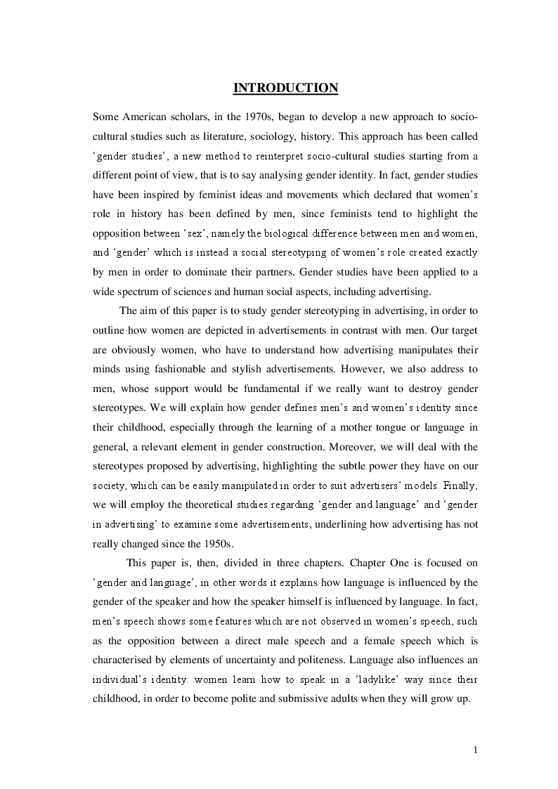 Anteprima della tesi: Gender and language in advertising, Pagina 2