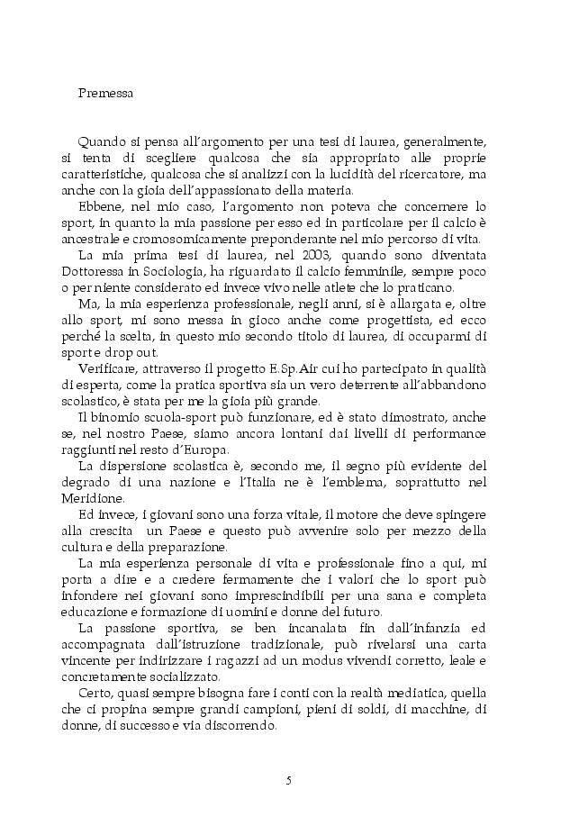 Anteprima della tesi: Dispersione scolastica e pedagogia dello sport: il progetto E.Sp.Air, Pagina 2