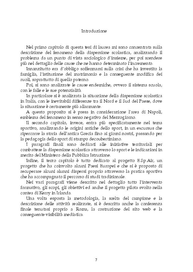 Anteprima della tesi: Dispersione scolastica e pedagogia dello sport: il progetto E.Sp.Air, Pagina 4