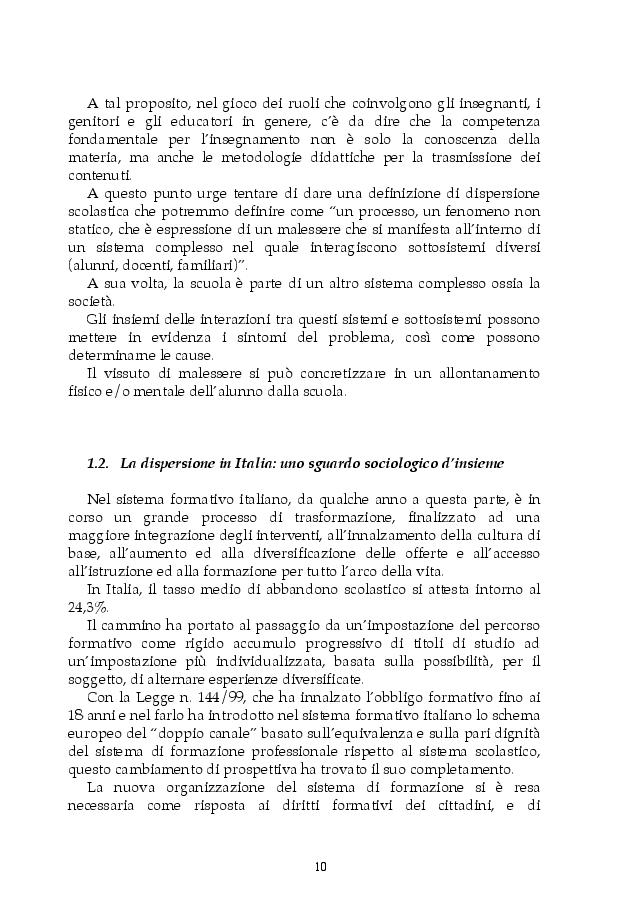 Anteprima della tesi: Dispersione scolastica e pedagogia dello sport: il progetto E.Sp.Air, Pagina 7