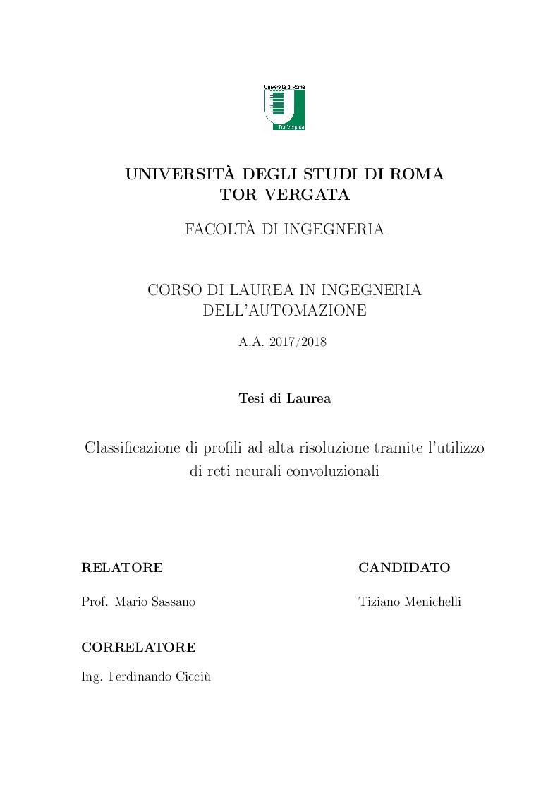 Anteprima della tesi: Classificazione di profili ad alta risoluzione tramite l'utilizzo di reti neurali convoluzionali, Pagina 1