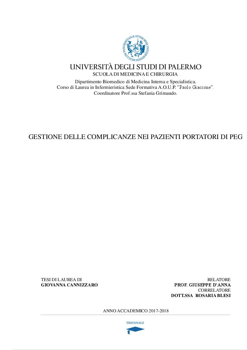 Anteprima della tesi: Gestione delle complicanze nei pazienti portatori di PEG, Pagina 1