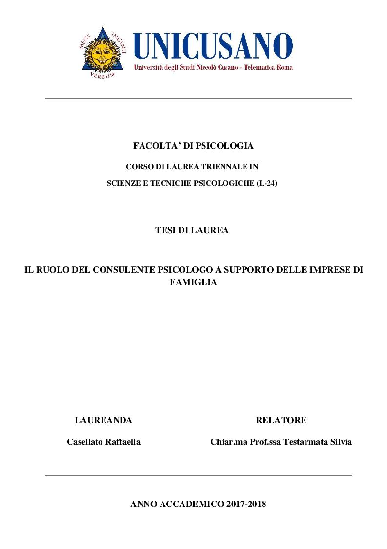 Anteprima della tesi: Il ruolo del consulente psicologo a supporto delle imprese di famiglia, Pagina 1