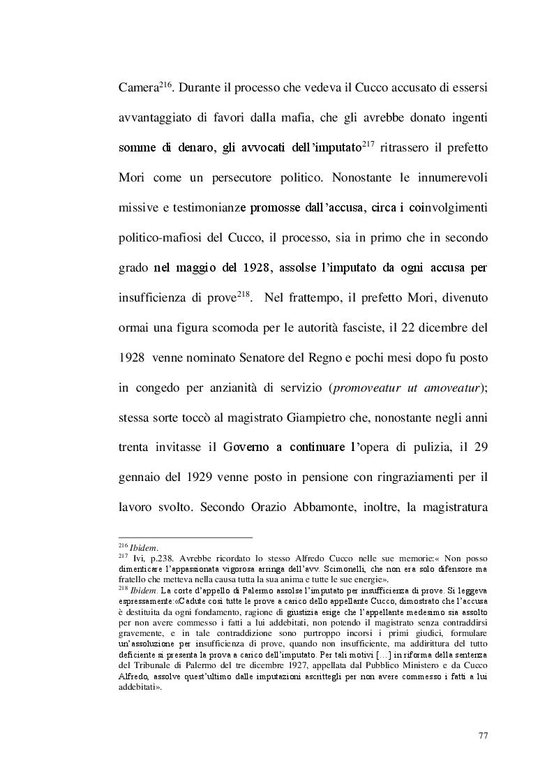 Estratto dalla tesi: La repressione del fenomeno mafioso in Italia dal 1861 al secondo dopoguerra