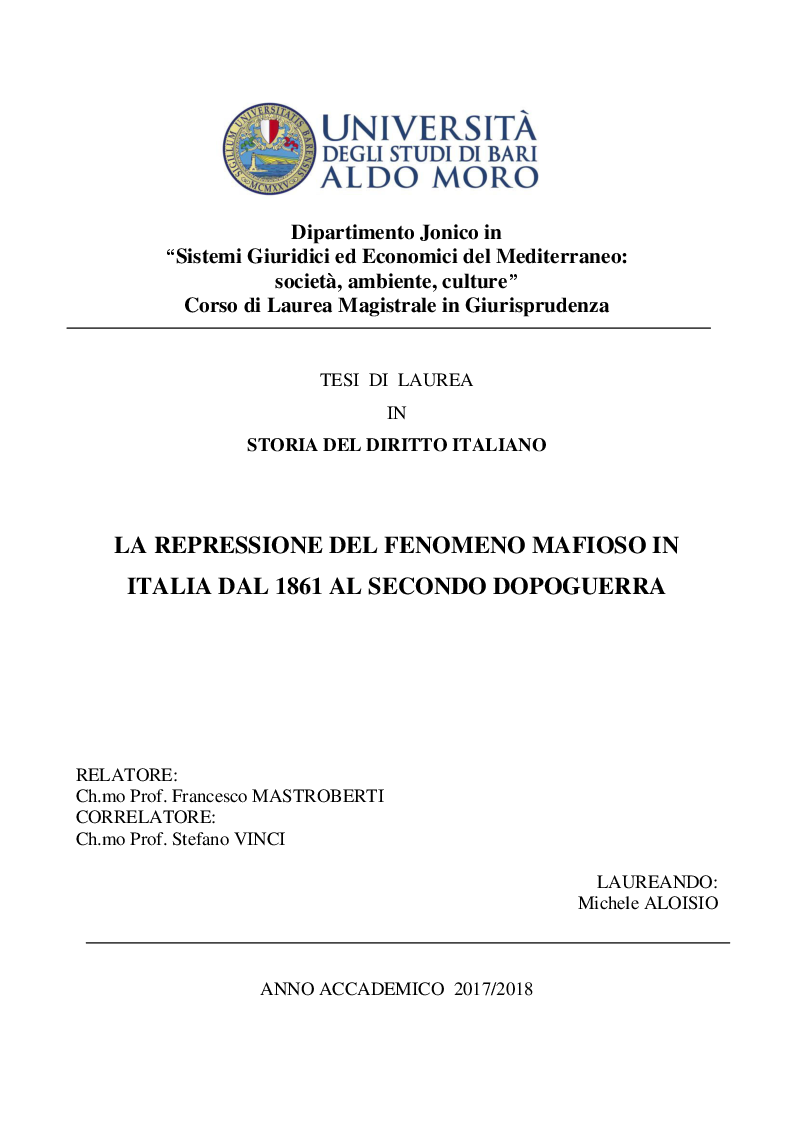 Anteprima della tesi: La repressione del fenomeno mafioso in Italia dal 1861 al secondo dopoguerra, Pagina 1