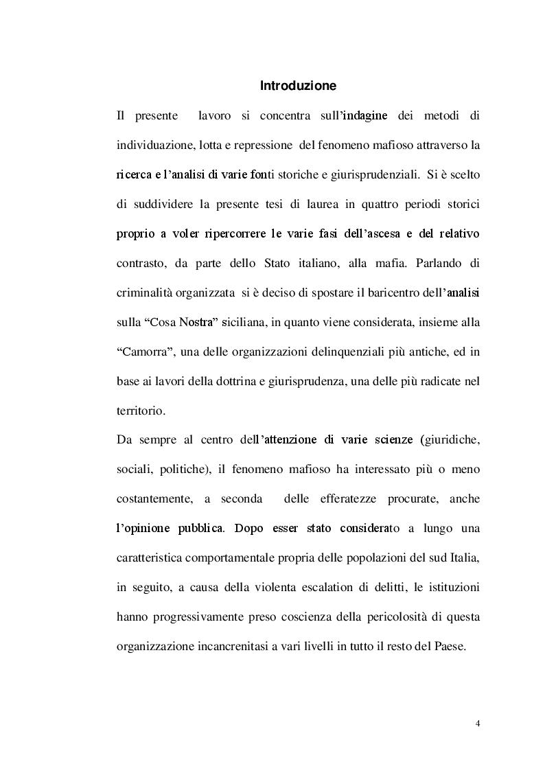 Anteprima della tesi: La repressione del fenomeno mafioso in Italia dal 1861 al secondo dopoguerra, Pagina 2