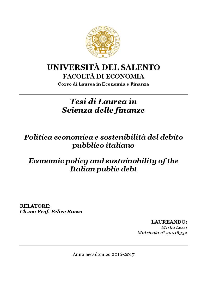 Anteprima della tesi: Politica economica e sostenibilità del debito pubblico italiano, Pagina 1