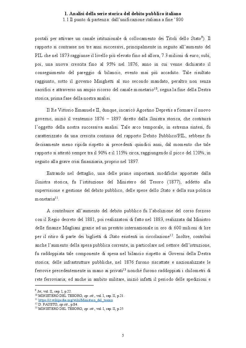 Anteprima della tesi: Politica economica e sostenibilità del debito pubblico italiano, Pagina 6
