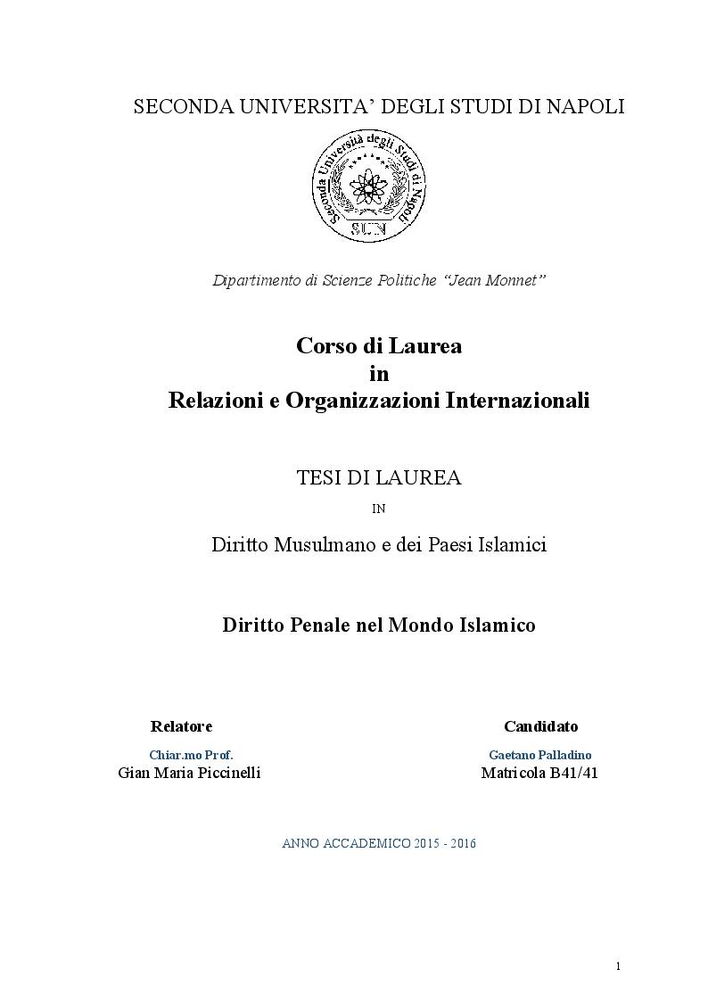 Anteprima della tesi: Diritto Penale nel mondo islamico, Pagina 1