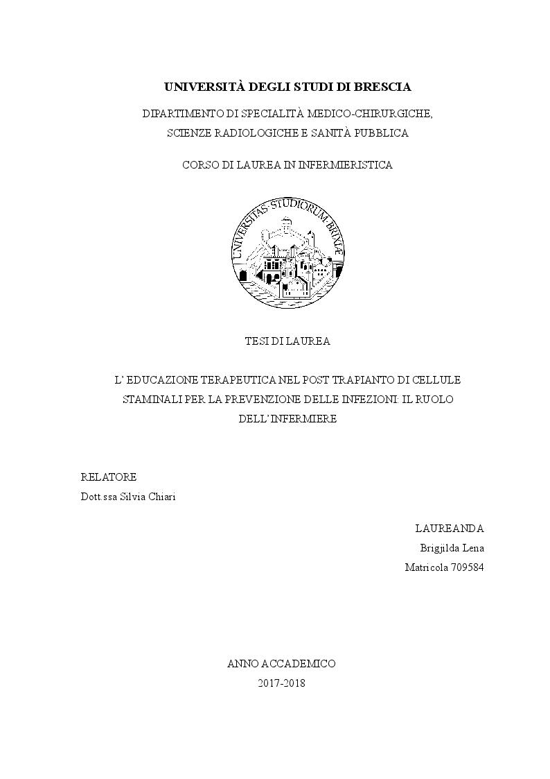 Anteprima della tesi: L'educazione terapeutica nel post trapianto di cellule staminali per la prevenzione delle infezioni: il ruolo dell'infermiere, Pagina 1