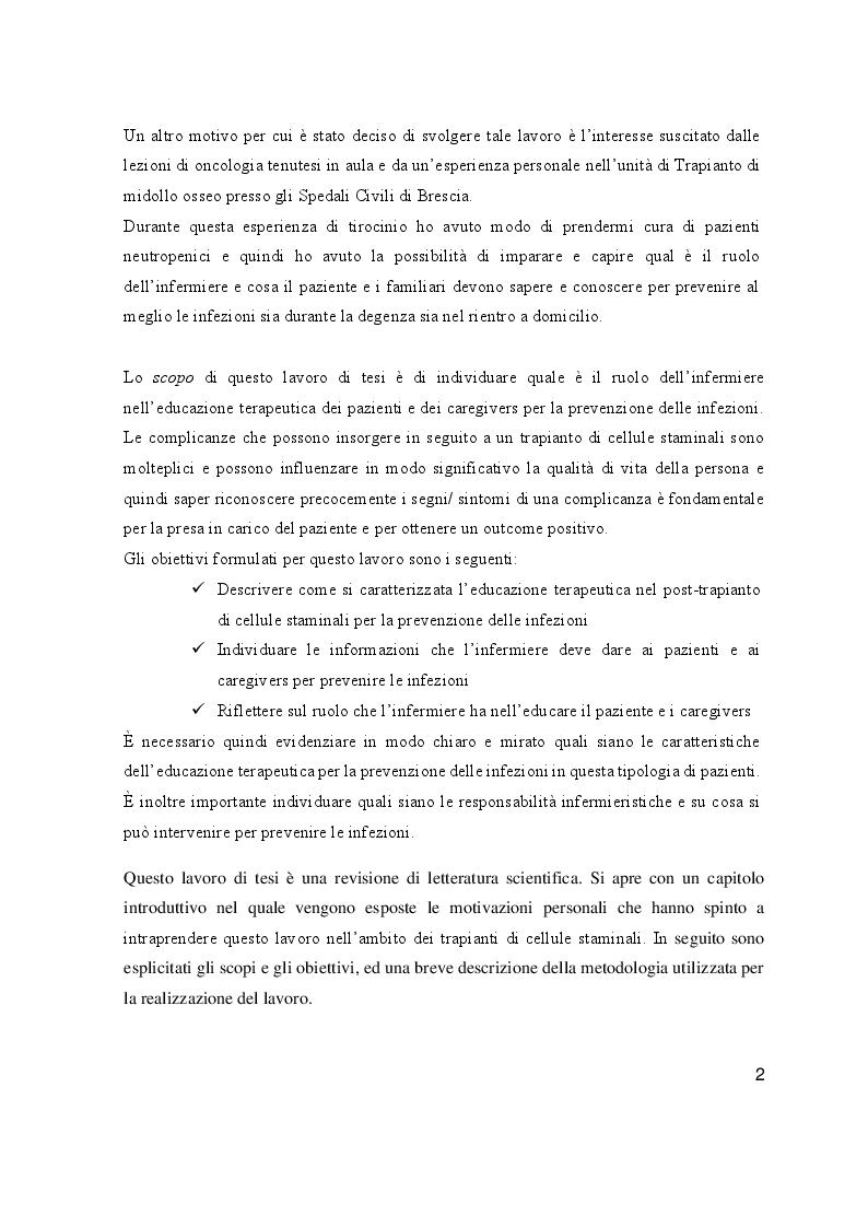 Anteprima della tesi: L'educazione terapeutica nel post trapianto di cellule staminali per la prevenzione delle infezioni: il ruolo dell'infermiere, Pagina 3