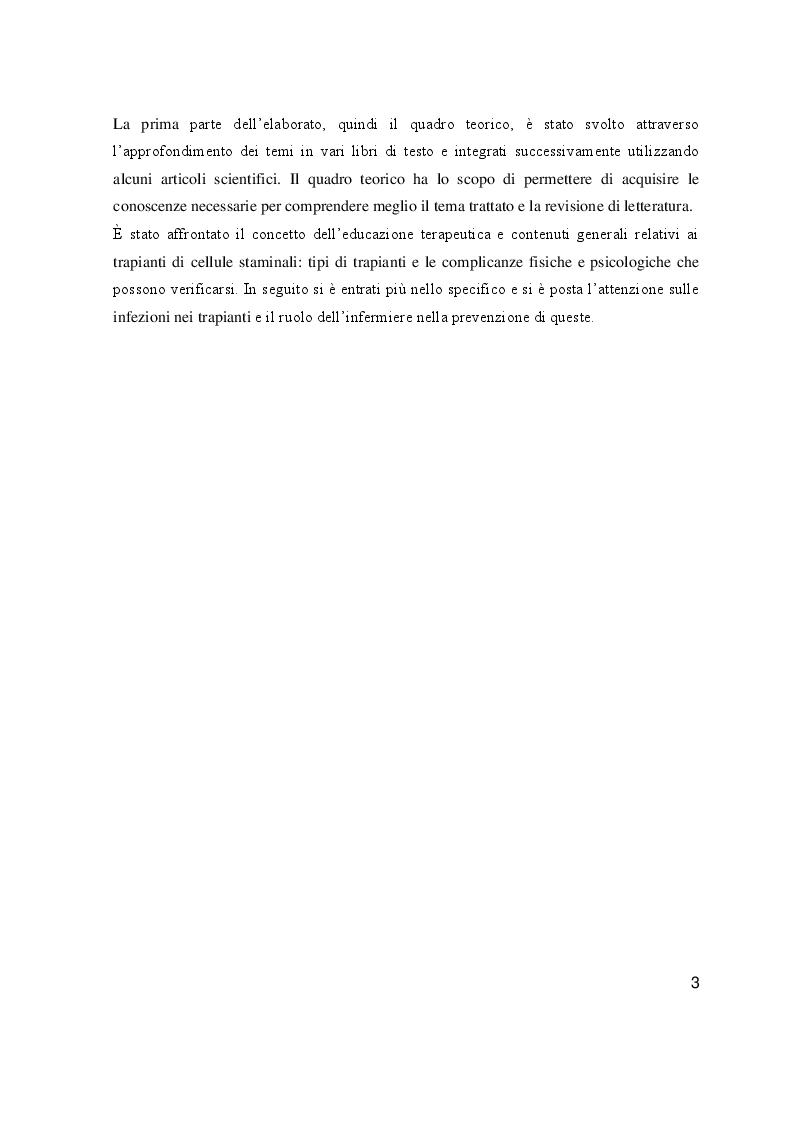 Anteprima della tesi: L'educazione terapeutica nel post trapianto di cellule staminali per la prevenzione delle infezioni: il ruolo dell'infermiere, Pagina 4