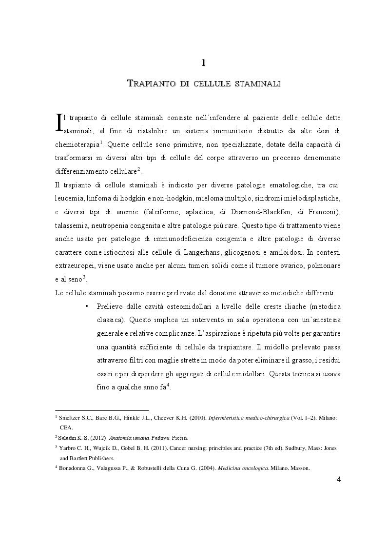 Anteprima della tesi: L'educazione terapeutica nel post trapianto di cellule staminali per la prevenzione delle infezioni: il ruolo dell'infermiere, Pagina 5