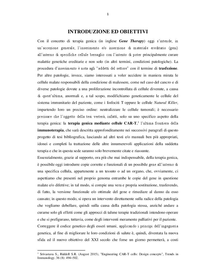 Anteprima della tesi: Immunoterapia oncologica mediante cellule CAR-T, Pagina 2