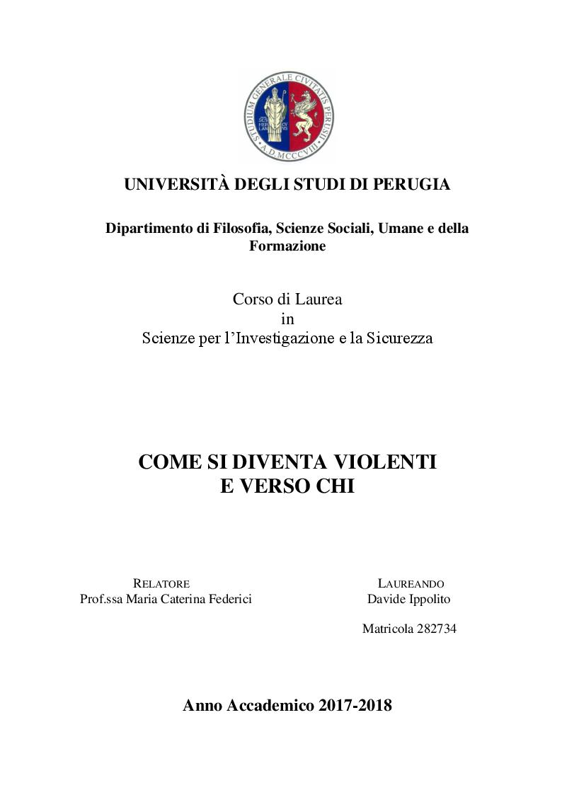 Anteprima della tesi: Come si diventa violenti e verso chi, Pagina 1
