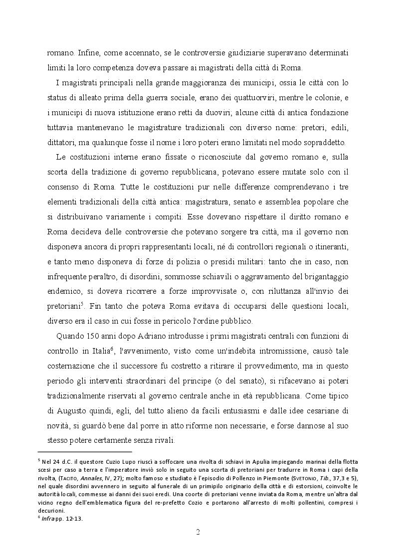 Estratto dalla tesi: La provincializzazione dell'Italia romana. Persistenze e cesure dal Principato al Basso Impero