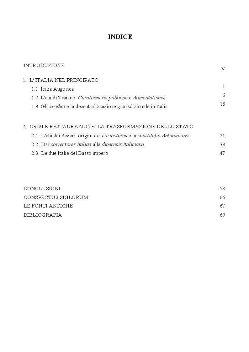 Indice della tesi: La provincializzazione dell'Italia romana. Persistenze e cesure dal Principato al Basso Impero, Pagina 1