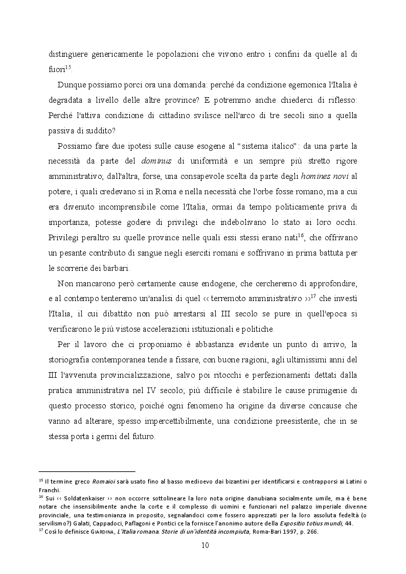 Anteprima della tesi: La provincializzazione dell'Italia romana. Persistenze e cesure dal Principato al Basso Impero, Pagina 7