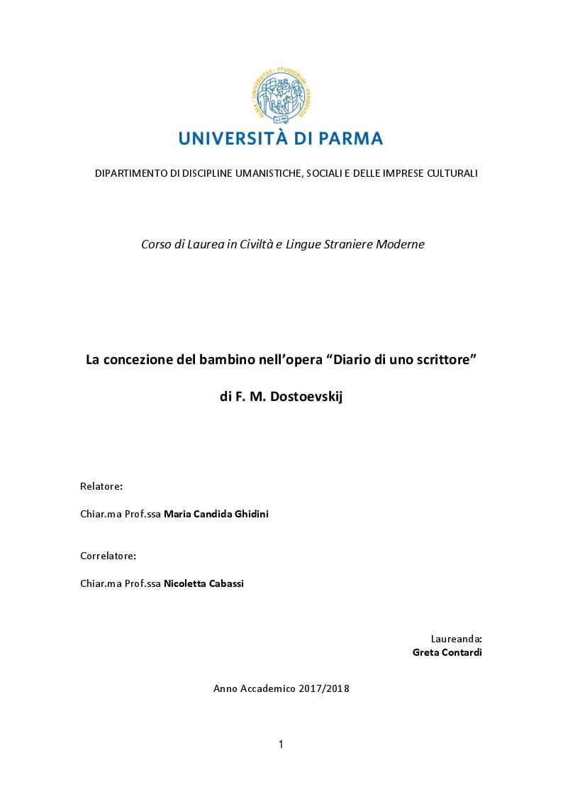 Anteprima della tesi: La concezione del bambino nell'opera ''Diario di uno scrittore'' di F.M. Dostoevskij, Pagina 1