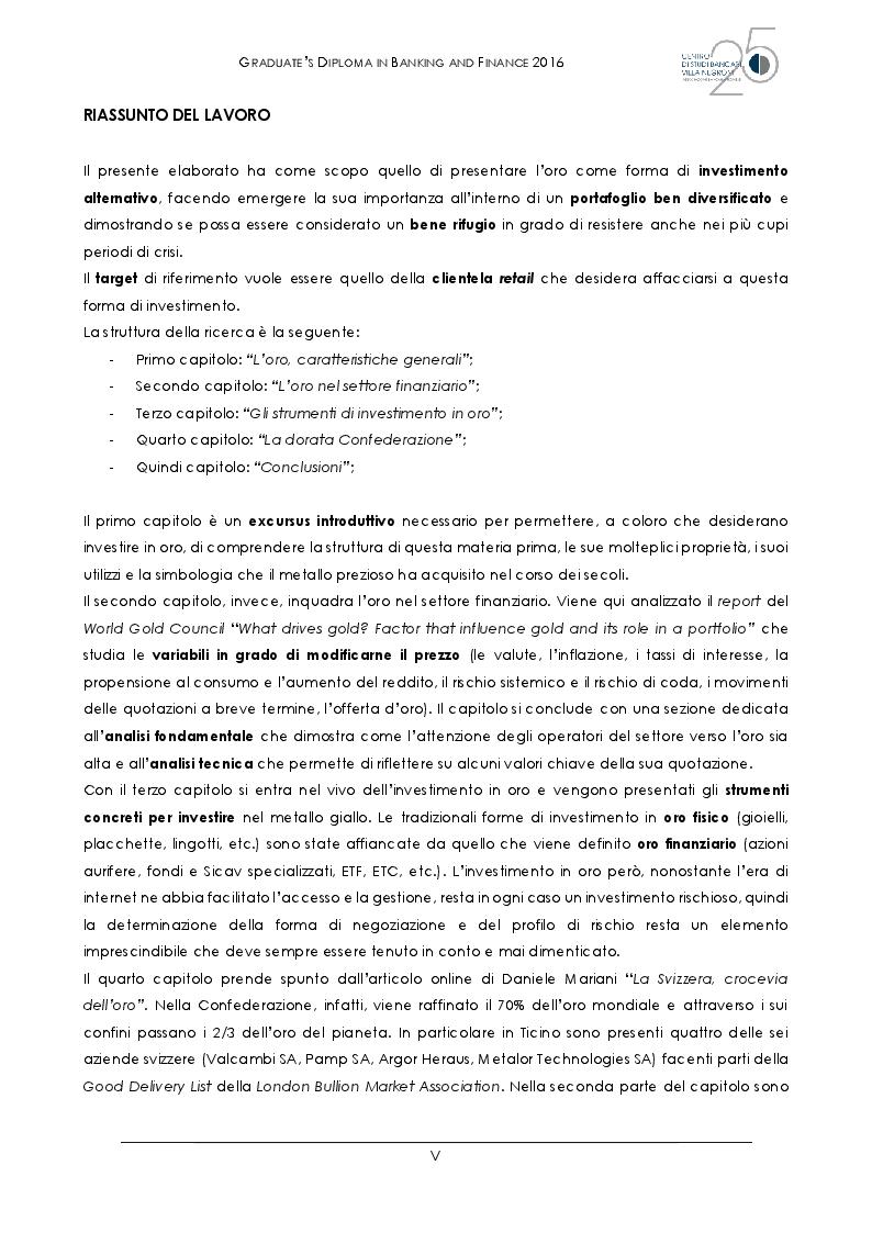 Anteprima della tesi: L'oro al tempo della crisi: bene rifugio o grande inganno?, Pagina 2