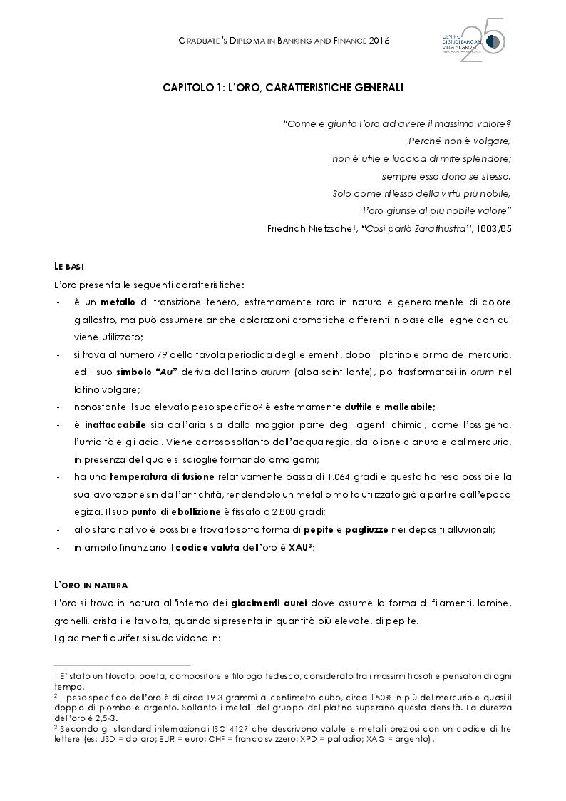Anteprima della tesi: L'oro al tempo della crisi: bene rifugio o grande inganno?, Pagina 6