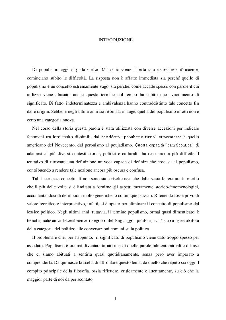 Anteprima della tesi: Politica e retorica del popolo sovrano. Dal populismo arcaico al populismo mediatico, Pagina 2