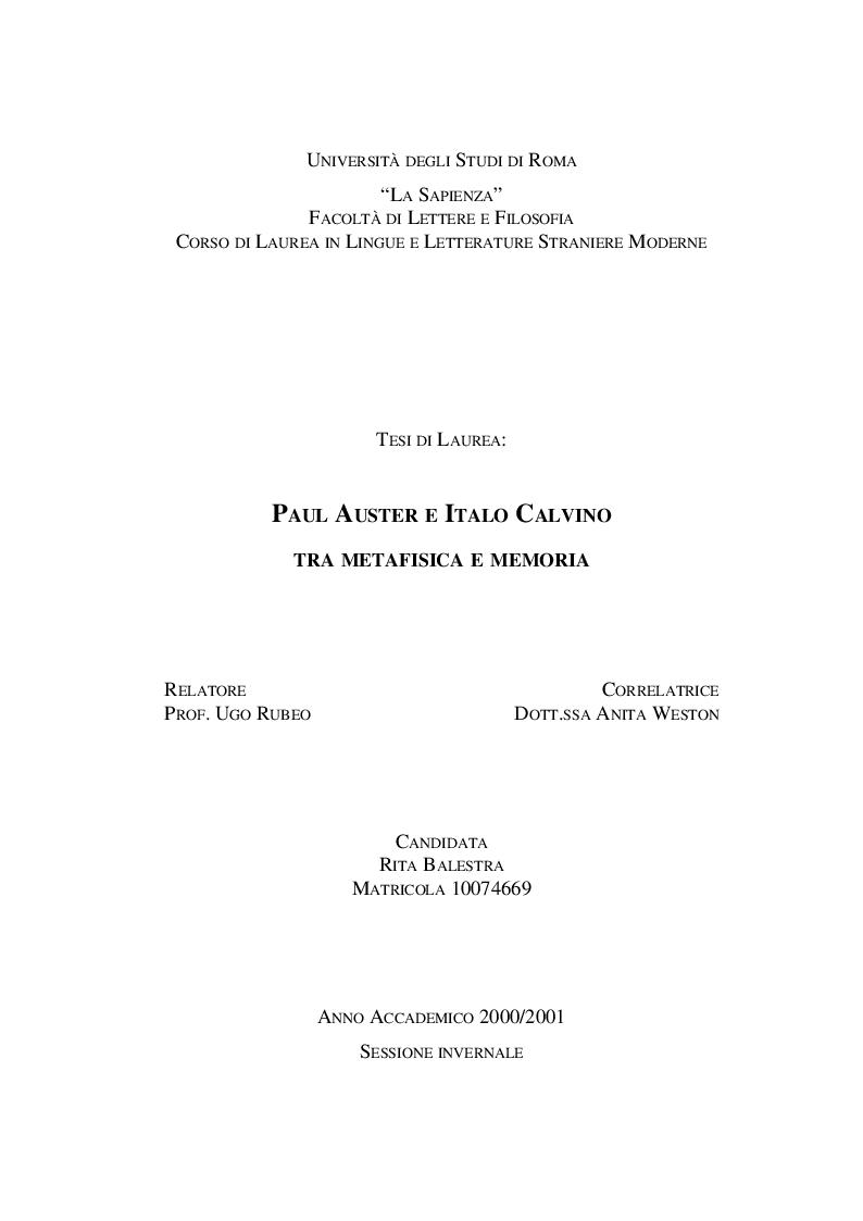 Anteprima della tesi: Paul Auster e Italo Calvino: tra Metafisica e Memoria, Pagina 1