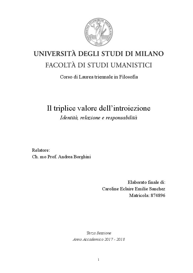 Anteprima della tesi: Il triplice valore dell'introiezione. Identità, relazione e responsabilità, Pagina 1