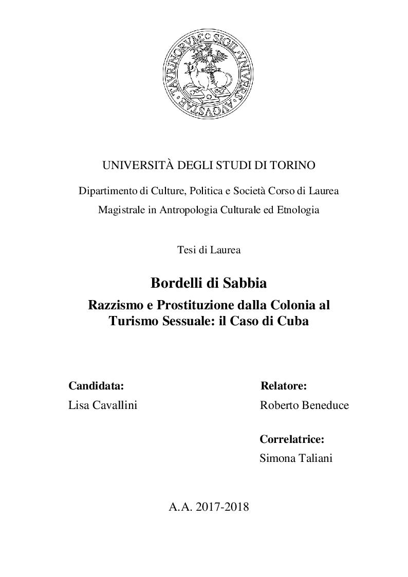 Anteprima della tesi: Bordelli di Sabbia. Razzismo e Prostituzione dalla Colonia al Turismo Sessuale: il Caso di Cuba, Pagina 1