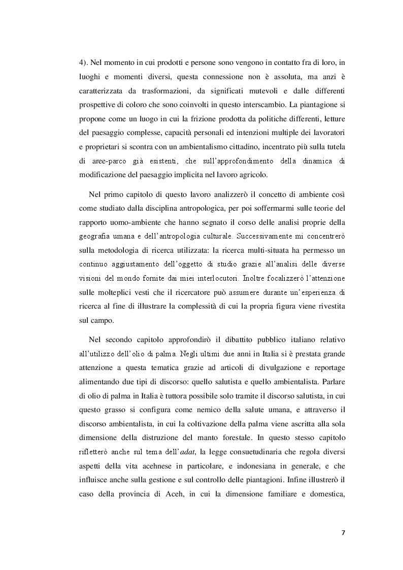 Anteprima della tesi: Visioni dell'impatto ambientale tra contadini e ambientalisti nelle piccole piantagioni di palma da olio in Aceh. Uno studio etnografico., Pagina 4