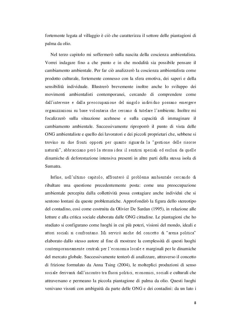 Anteprima della tesi: Visioni dell'impatto ambientale tra contadini e ambientalisti nelle piccole piantagioni di palma da olio in Aceh. Uno studio etnografico., Pagina 5