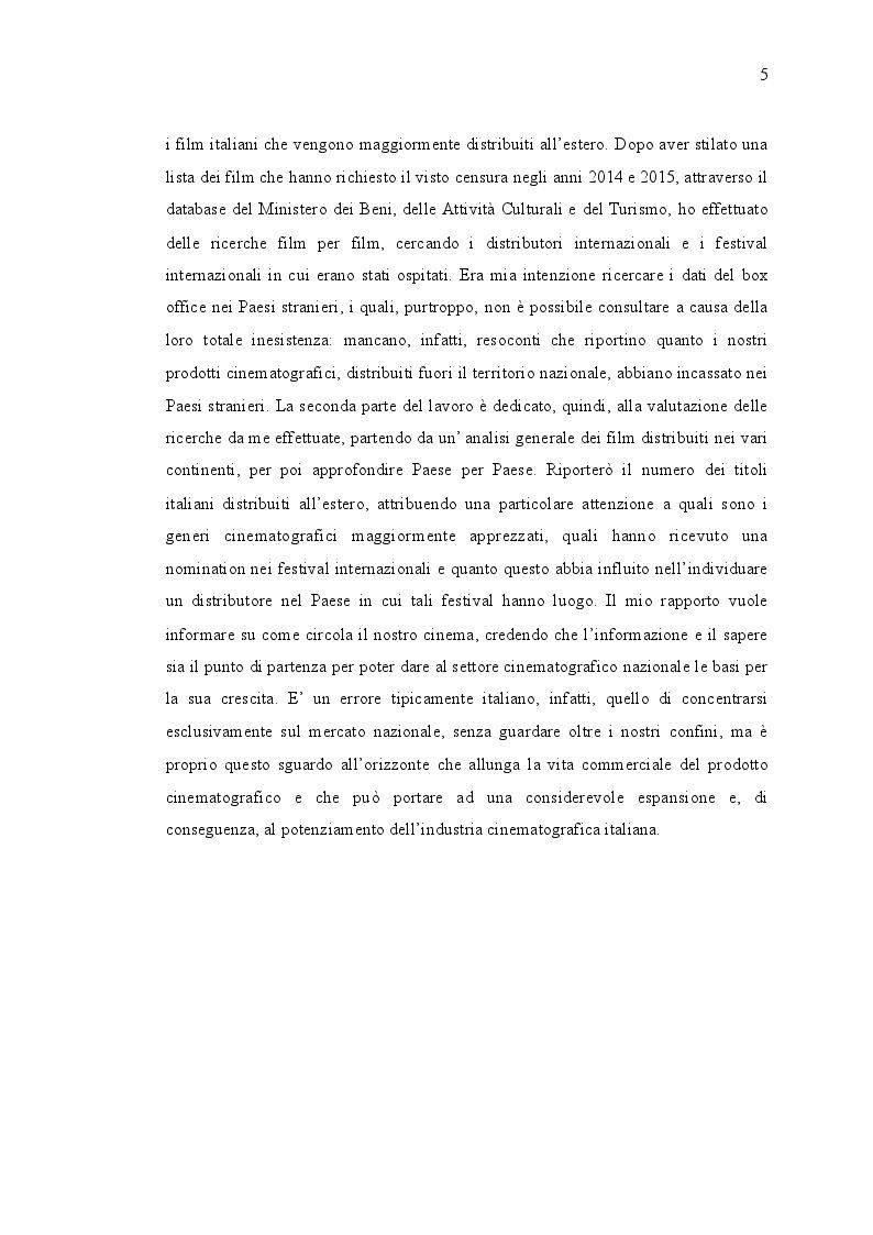 Anteprima della tesi: L'export italiano: rapporto sulla diffusione internazionale del cinema negli anni 2014-2015, Pagina 3