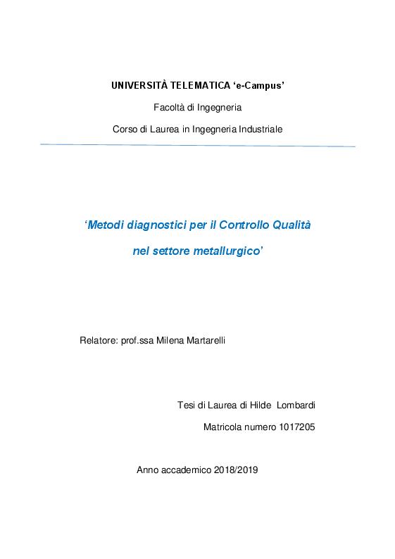 Anteprima della tesi: Strumenti e metodi diagnostici per il controllo qualità dei settore metallurgico, Pagina 1