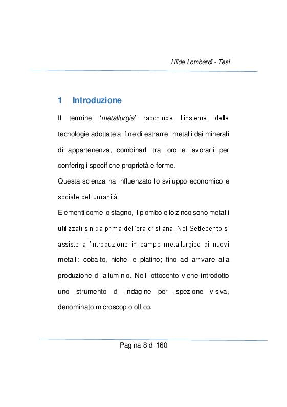Anteprima della tesi: Strumenti e metodi diagnostici per il controllo qualità dei settore metallurgico, Pagina 2