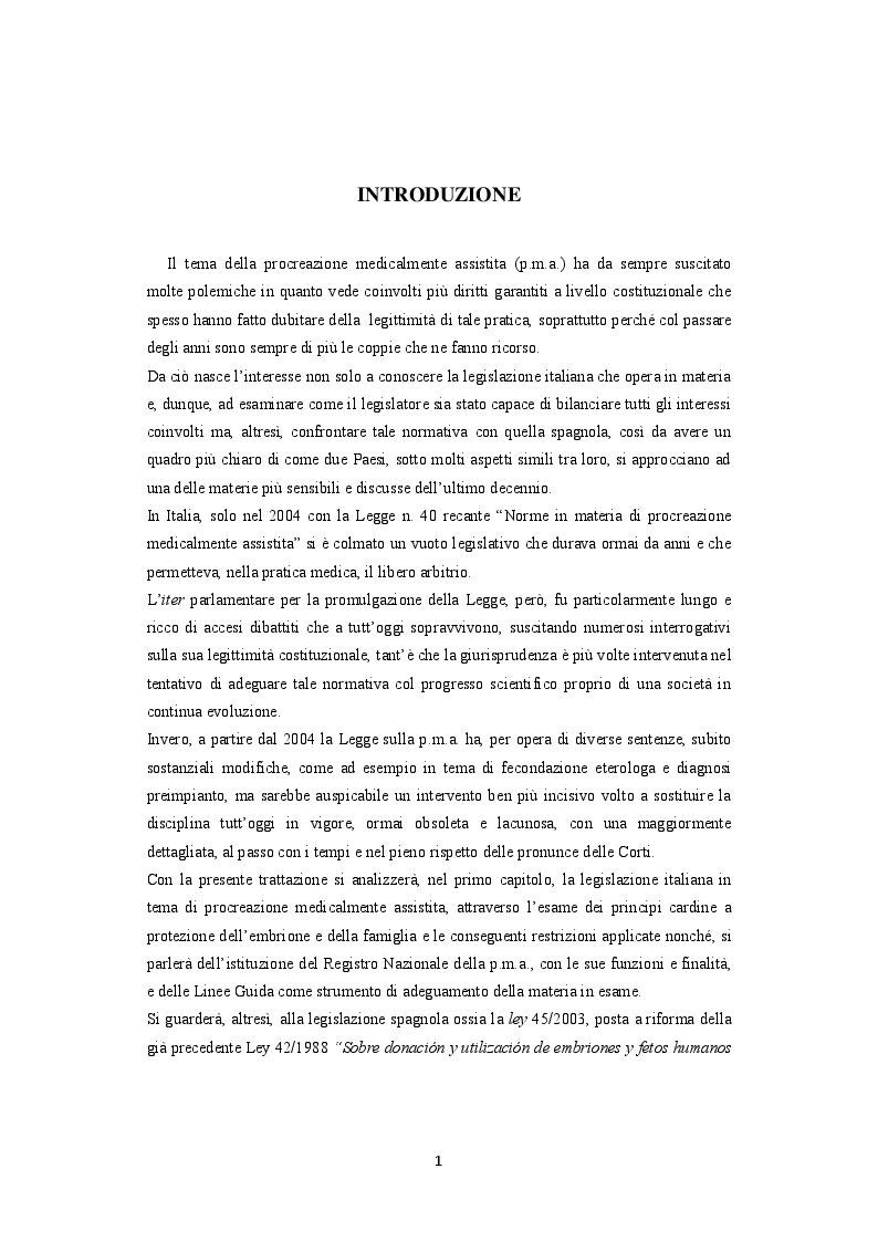 Anteprima della tesi: La procreazione medicalmente assistita e le malattie genetiche: Un'analisi comparativa tra Italia e Spagna, Pagina 2