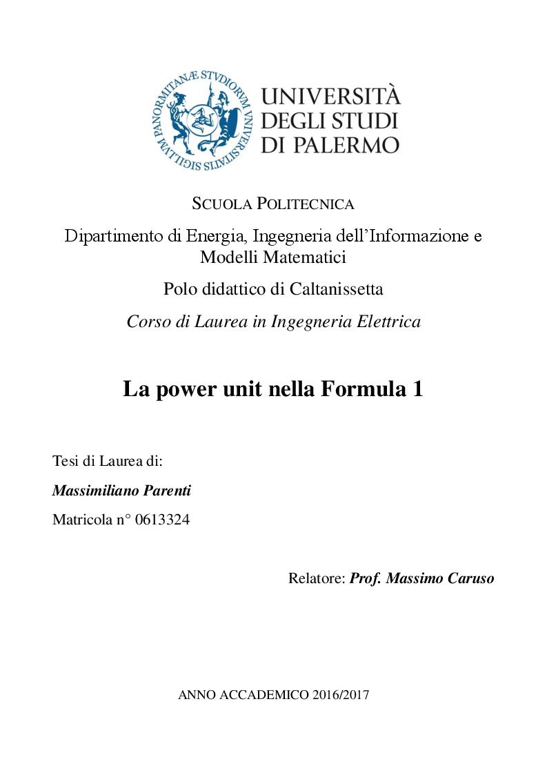 Anteprima della tesi: La power unit nella formula uno, Pagina 1