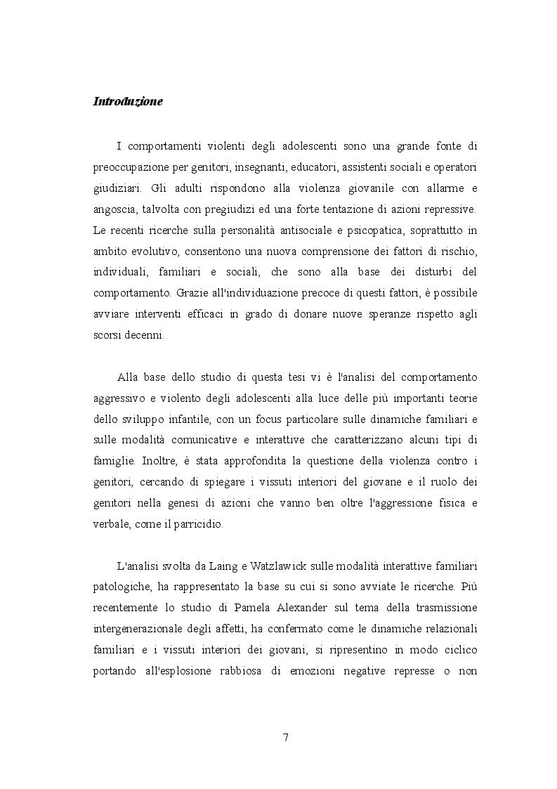 Anteprima della tesi: Mors tua vita mea: aggressività e violenza giovanile tra le mura domestiche. Dall'inquietudine all'omicidio, Pagina 2