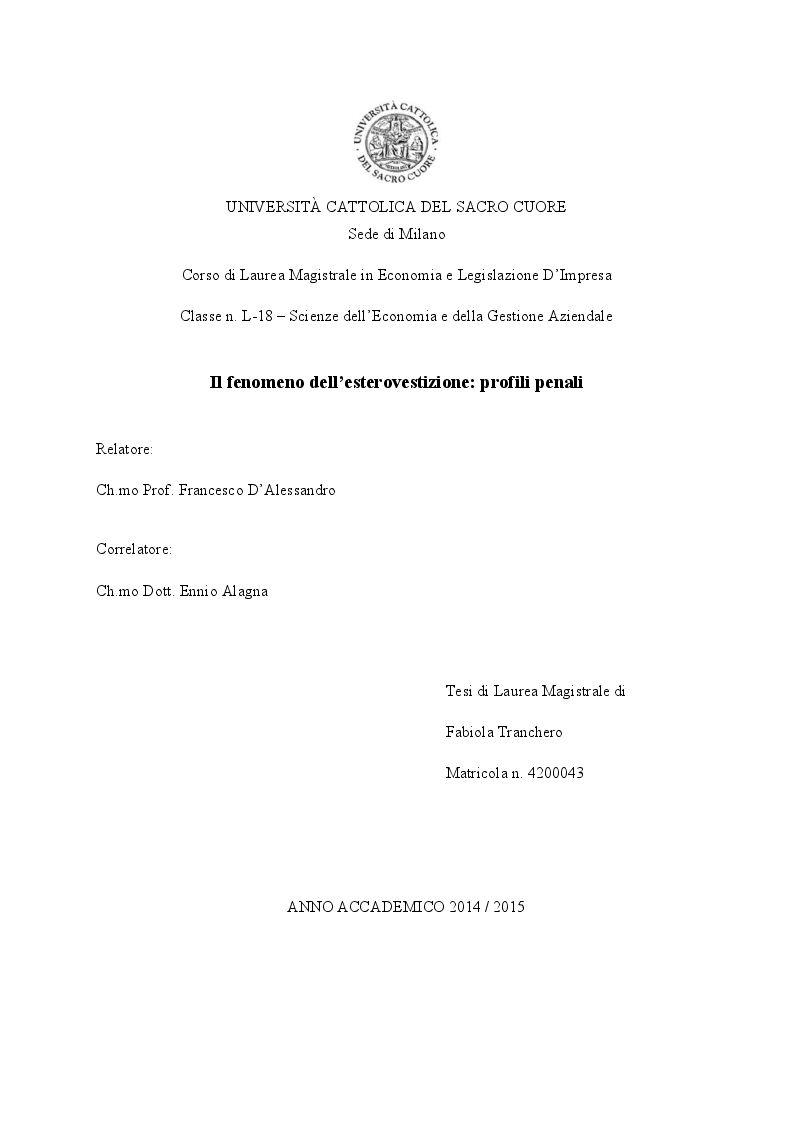 Anteprima della tesi: Il fenomeno dell'esterovestizione: profili penali, Pagina 1