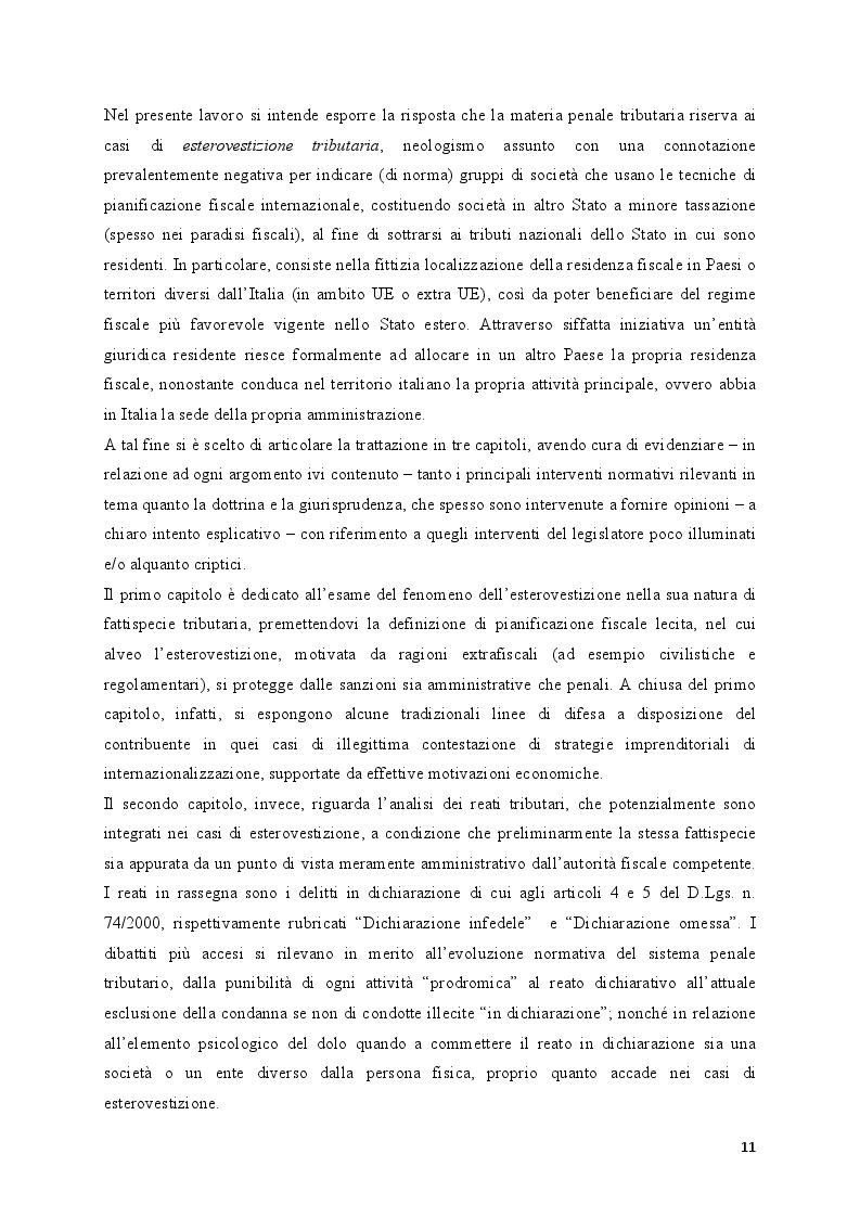 Anteprima della tesi: Il fenomeno dell'esterovestizione: profili penali, Pagina 4