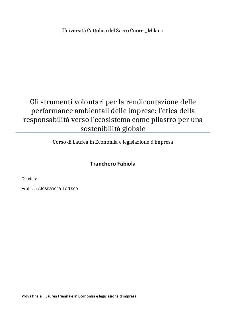 Anteprima della tesi: Gli strumenti volontari per la rendicontazione delle performance ambientali delle imprese, Pagina 1