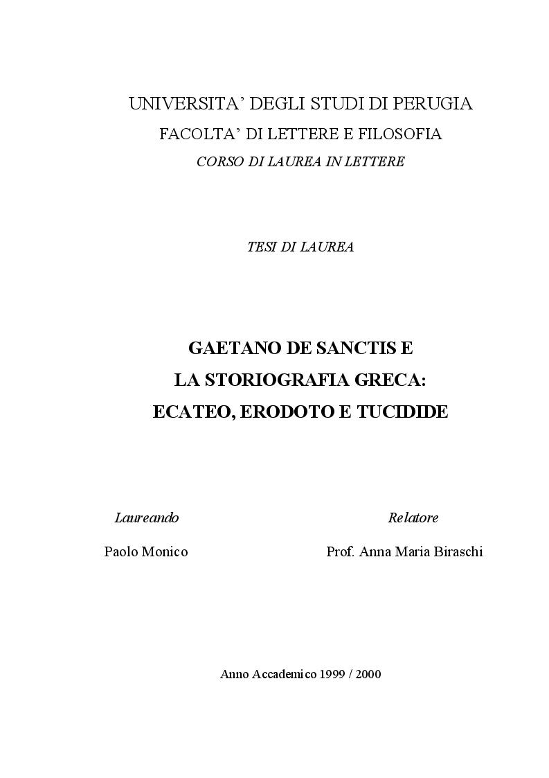 Anteprima della tesi: Gaetano De Sanctis e la storiografia greca: Ecateo, Erodoto e Tucidide, Pagina 1