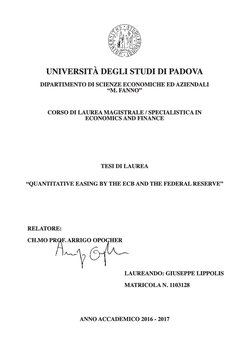 Anteprima della tesi: Quantitative Easing by the ECB and the Federal Reserve, Pagina 1