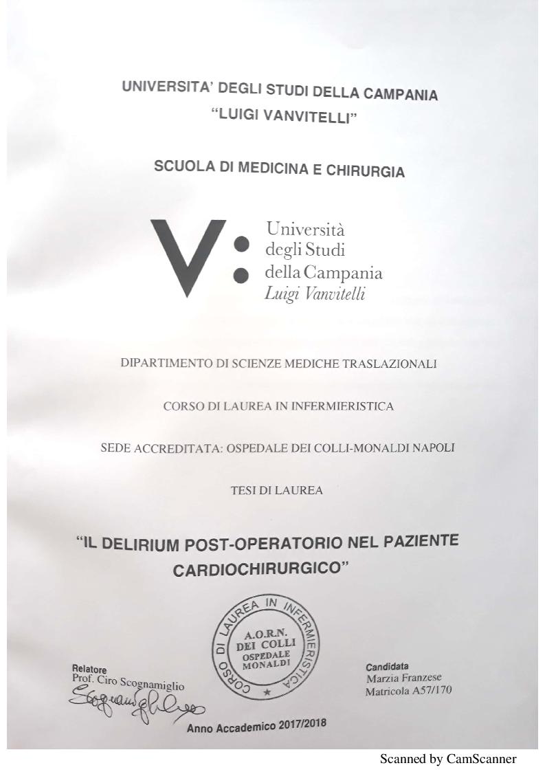 Anteprima della tesi: Il delirium postoperatorio in paziente cardiochirurgico, Pagina 1