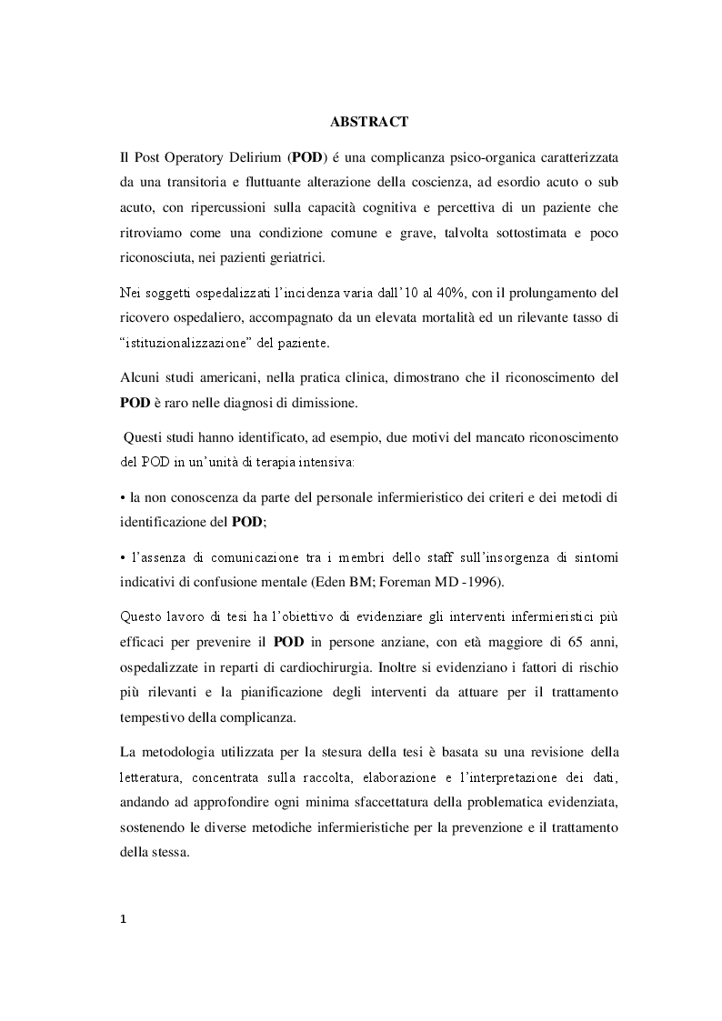 Anteprima della tesi: Il delirium postoperatorio in paziente cardiochirurgico, Pagina 2