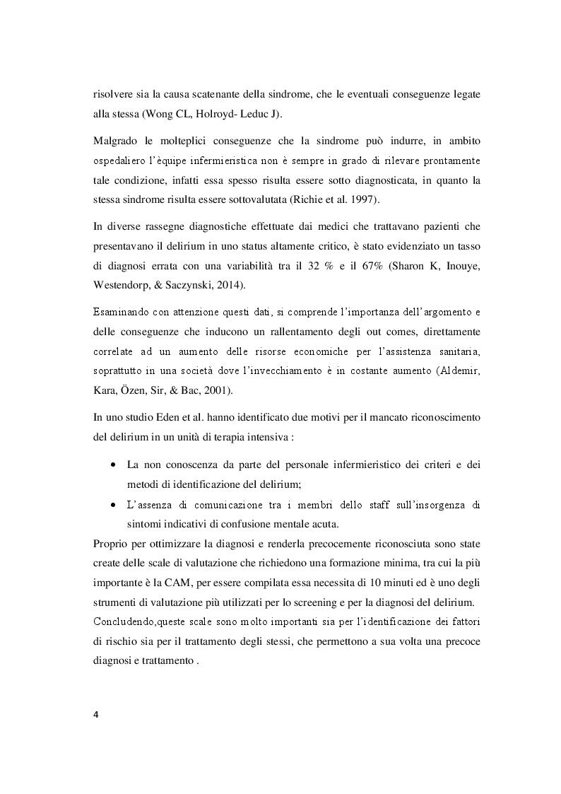 Anteprima della tesi: Il delirium postoperatorio in paziente cardiochirurgico, Pagina 5