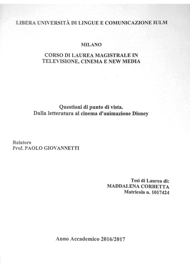 Anteprima della tesi: Questioni di punto di vista. Dalla letteratura al cinema d'animazione Disney, Pagina 1