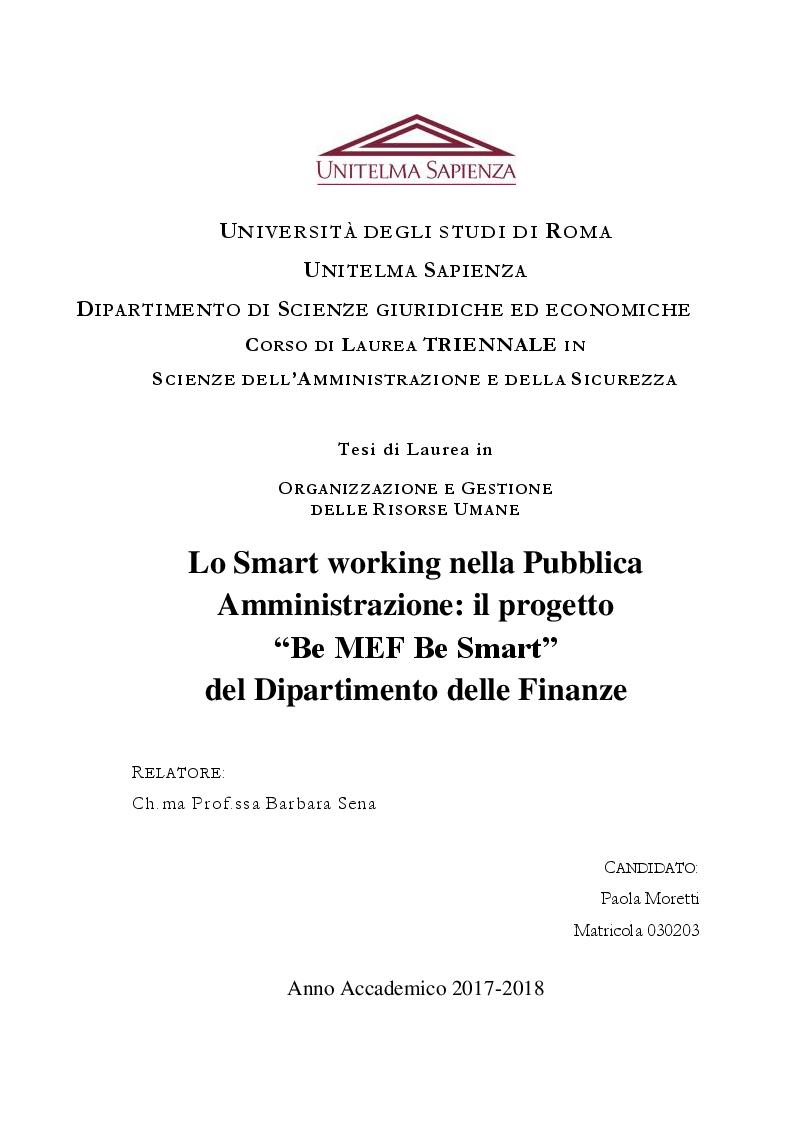 """Anteprima della tesi: Lo Smart working nella Pubblica Amministrazione: il progetto """"Be MEF Be Smart"""" del Dipartimento delle Finanze, Pagina 1"""