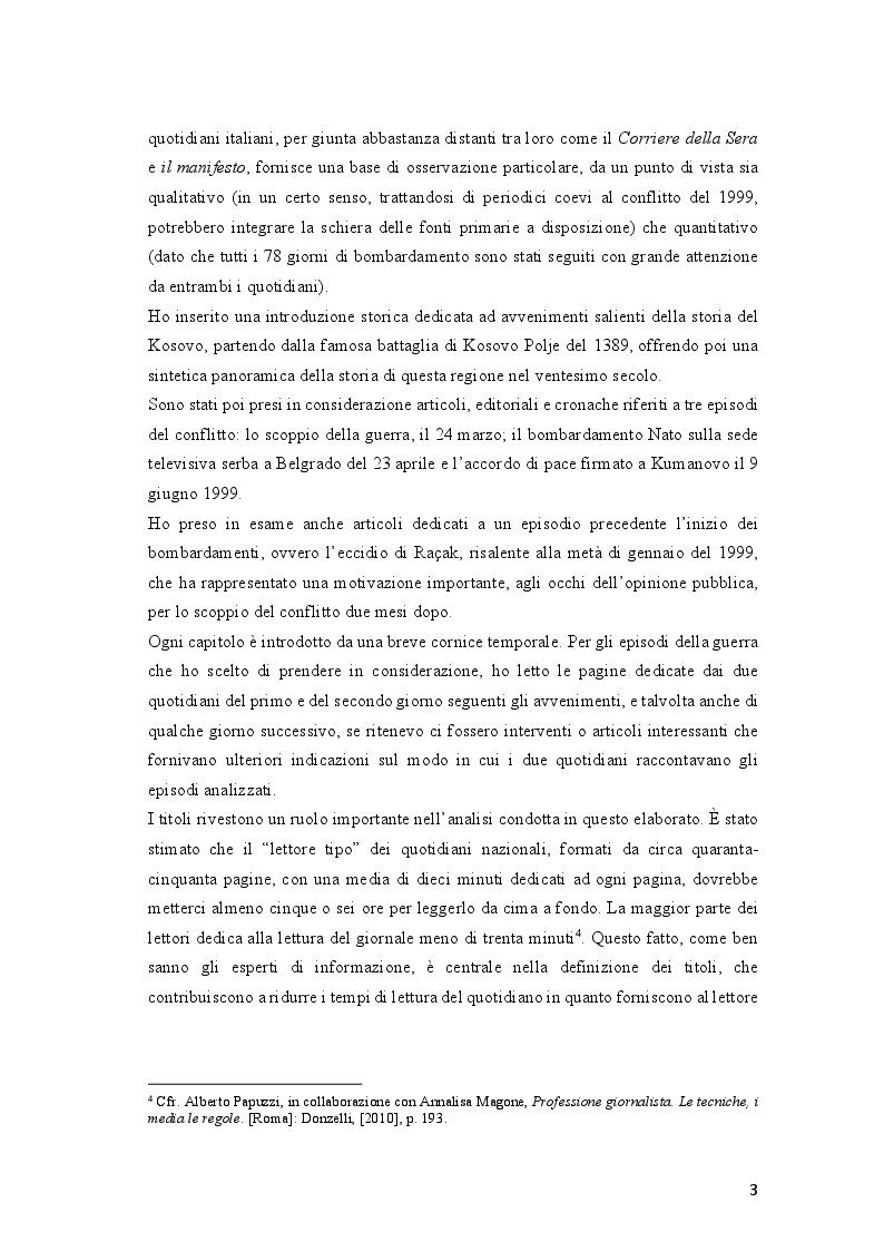 Anteprima della tesi: Come si racconta(va) la guerra: il conflitto del Kosovo nelle cronache del ''Corriere della Sera'' e del ''manifesto'', Pagina 3
